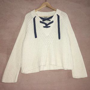 Cross Front Lace-Up Chunky Knit Sweater Plunge V